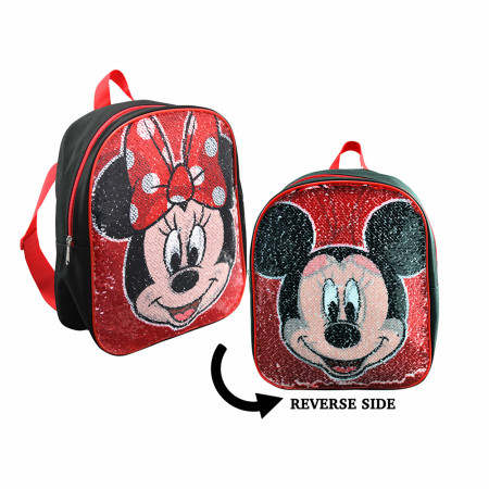 Mickey and Minnie Reversible Sequin 12 Inch Backpack